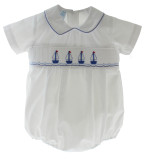 Boys White Bubble Smocked Sailboats Petit Bebe