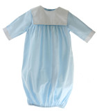 Baby Boys Blue Gown with Square Monogram Collar