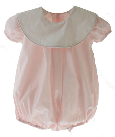 Baby Girls Pink Monogrammed Bubble outfit