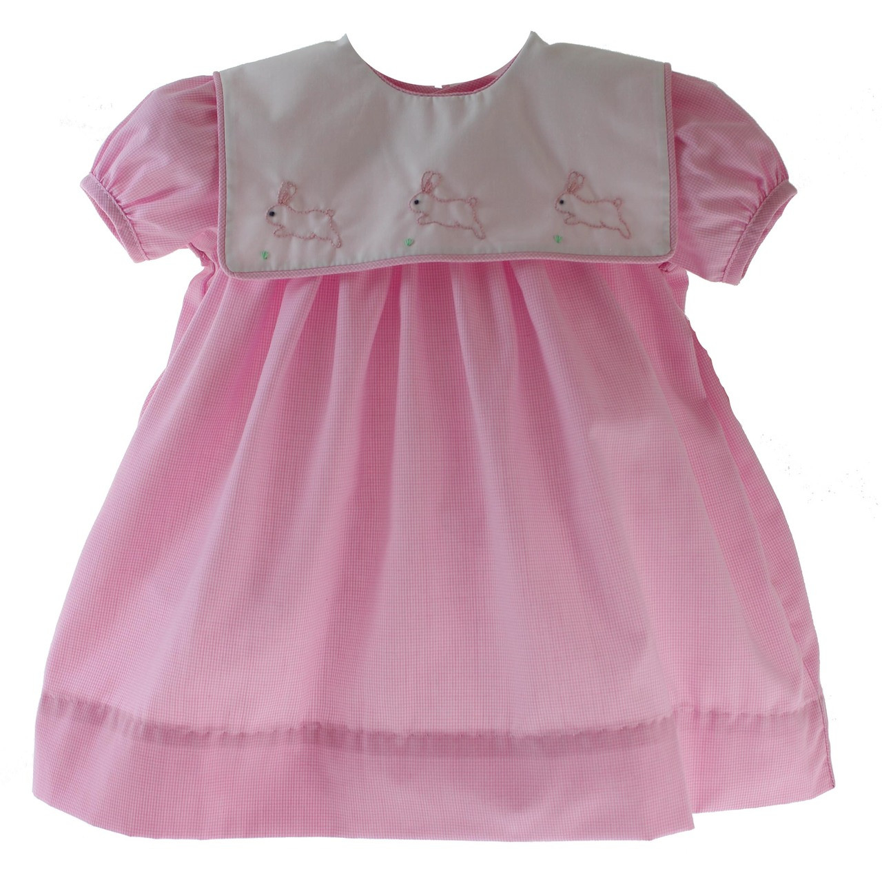 Baby Girls Pink Easter Dress Bunny Rabbit Embroidery - Hiccups ... ee7f865d9