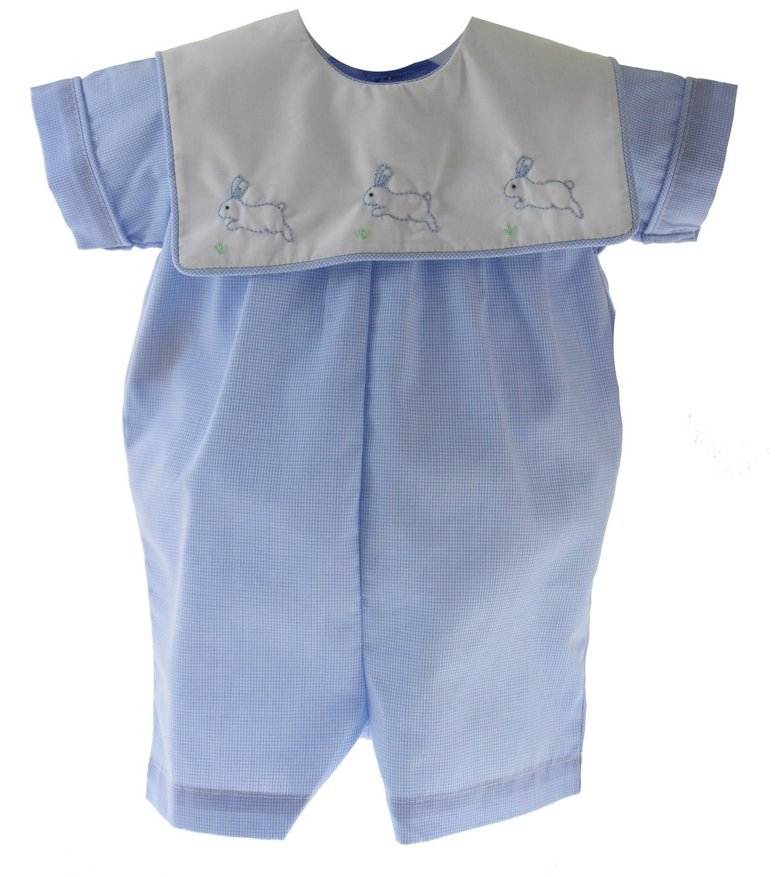 Baby Boys Blue Gingham Easter Romper Outfit Bunny Rabbit Embroidery ... dad3fcc320e8