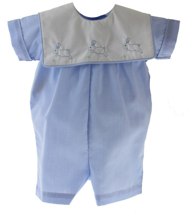 Baby Boys Blue Easter Romper with Bunnies
