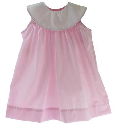 Girls Sleeveless Pink Monogram Dress Round Portrait Collar