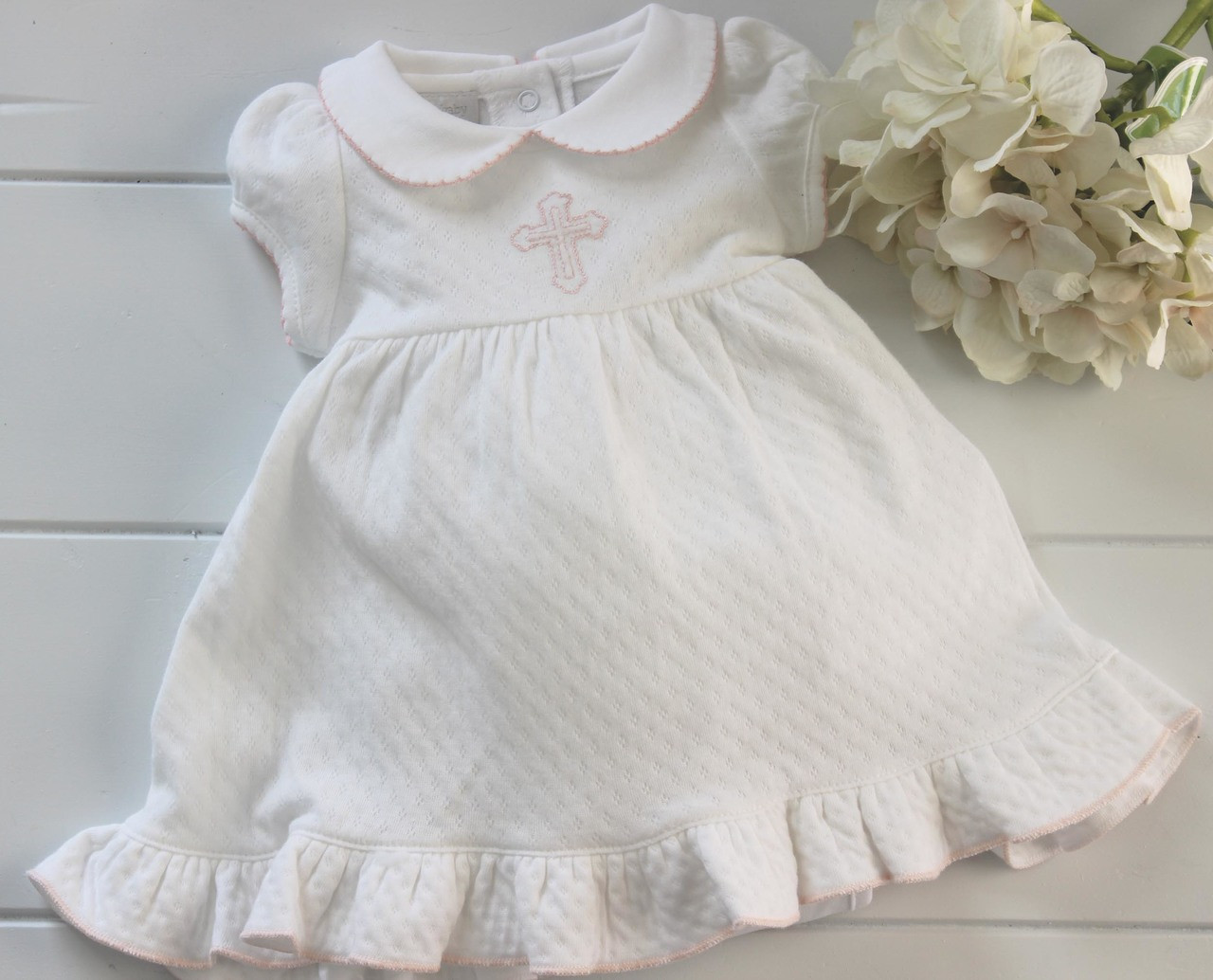 a598a912e64a ... Infant Girls White Cotton Dress Pink Cross Embroidery
