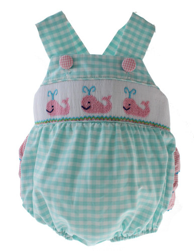 Baby Girls Whale Sunsuit Bubble Turquoise Pink