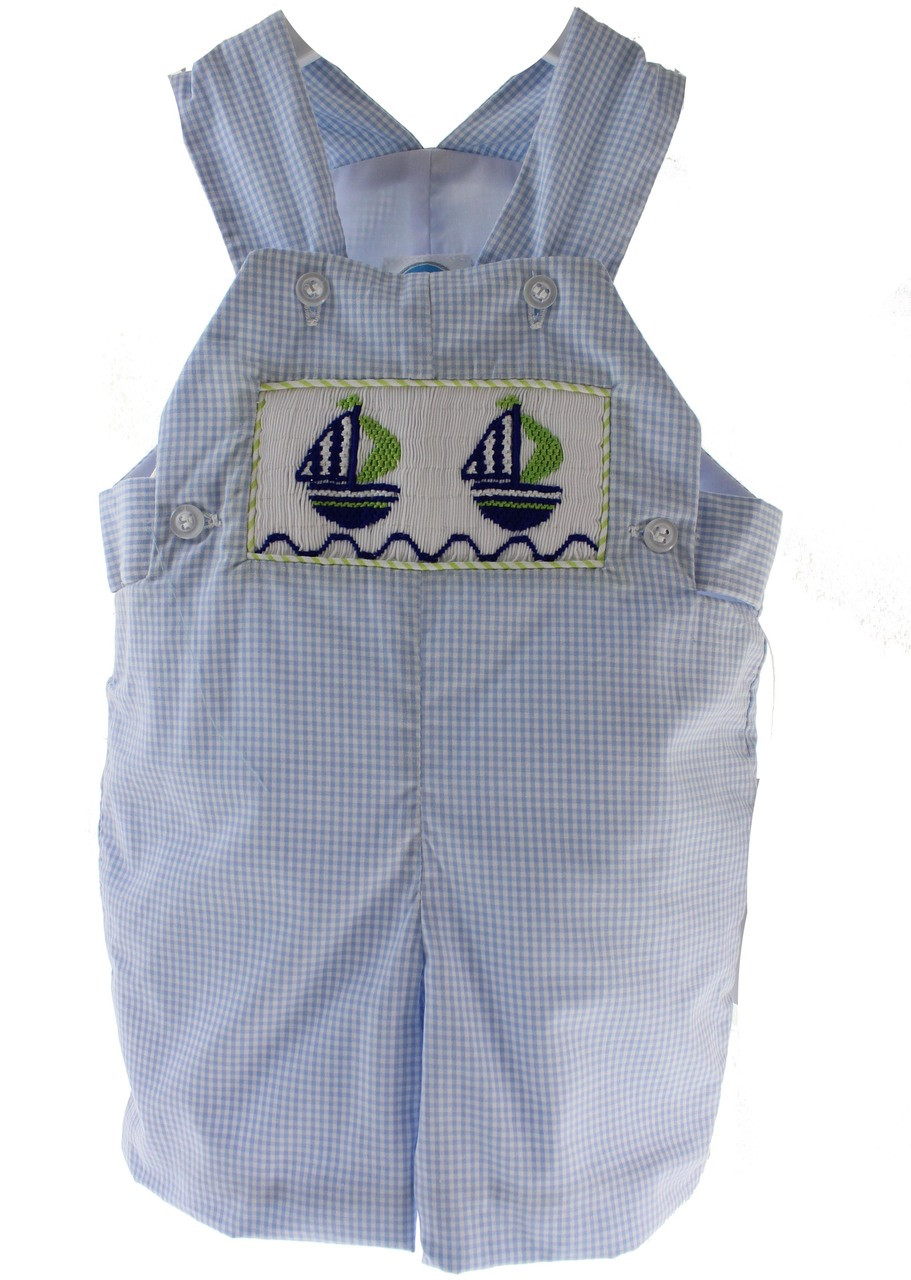 8400cbcf6 Baby Boys Blue Smocked Sailboat Overall - Hiccups Childrens Boutique