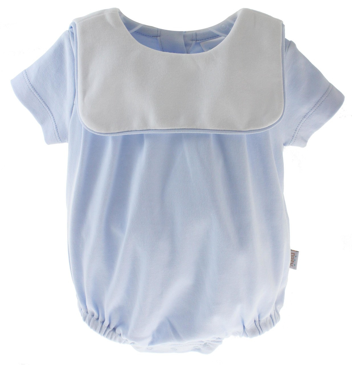 4d8cd563d8056 ... Baby Boys Blue Cotton Bubble Outfit White Bib Collar - Paty Inc. Loading  zoom