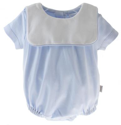 Baby Boys Blue Cotton Onesie Bubble Monogram Collar paty Inc
