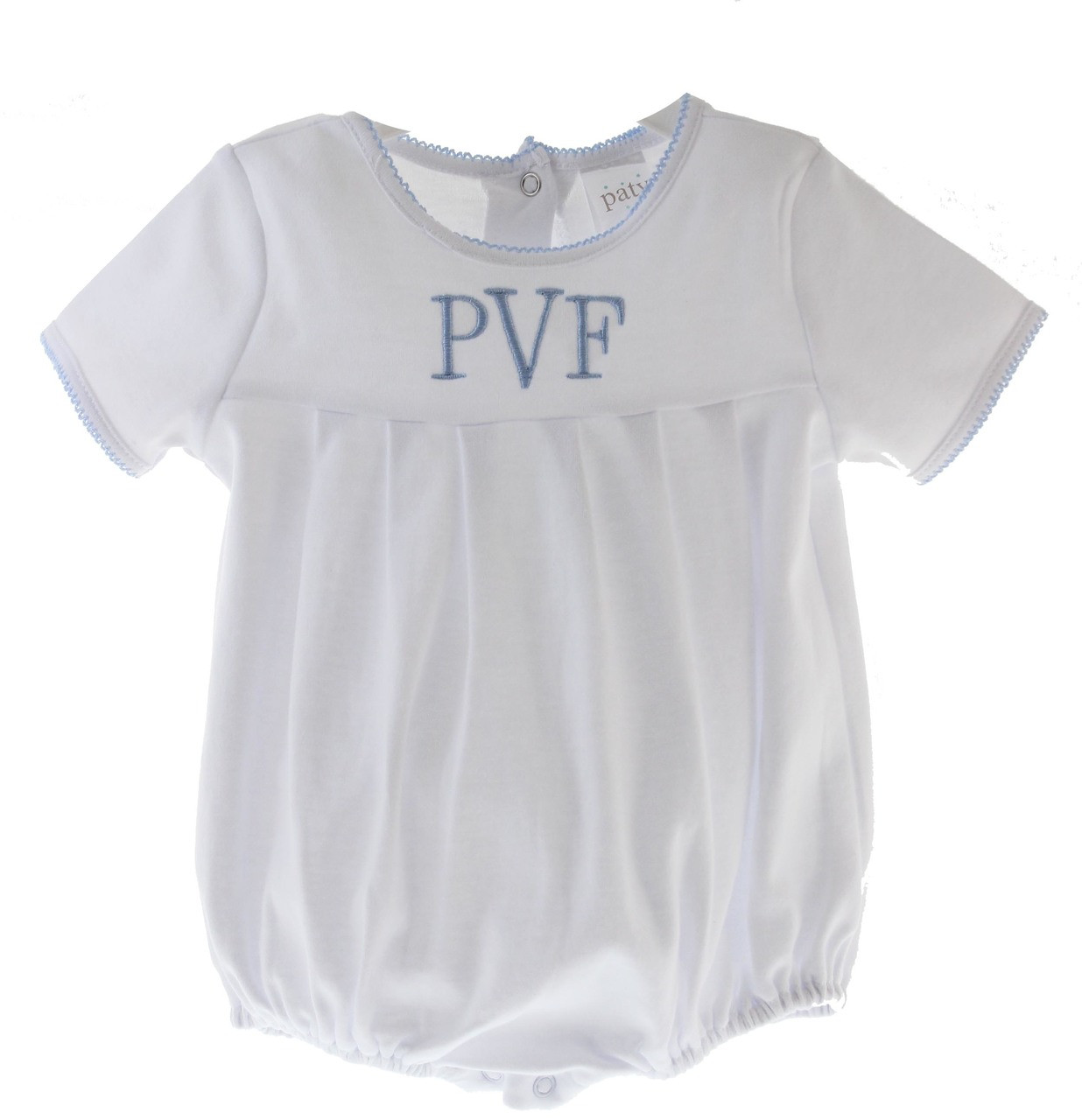 8a75be017cefd ... Baby Boys White Pima Cotton Bubble Outfit Blue Trim. Loading zoom