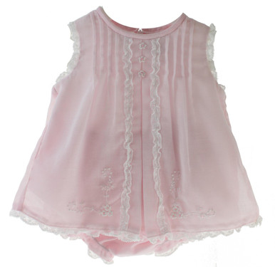 Newborn Girls Pink Sleeveless Dress Set