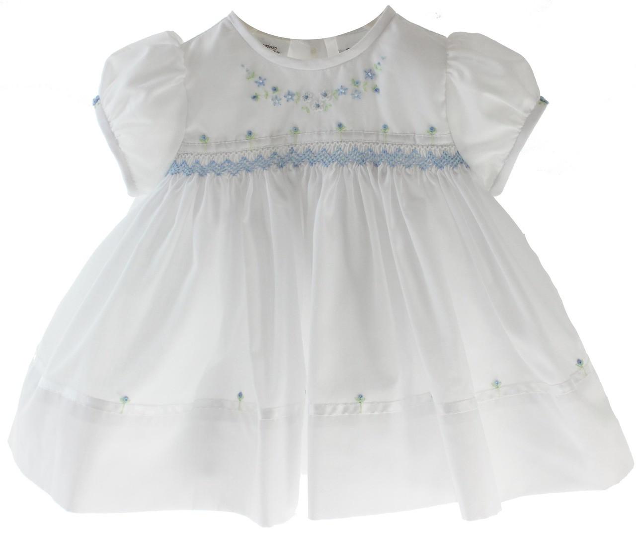 1d8615c018b ... Baby Girls White Dress Smocked in Blue | Sarah Louise. Loading zoom