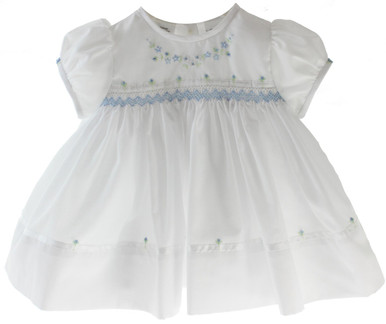 427a3fcbf405d Baby Girls White Dress Smocked in Blue