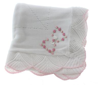 Baby Girl White Heirloom Shawl Blanket Sarah Louise