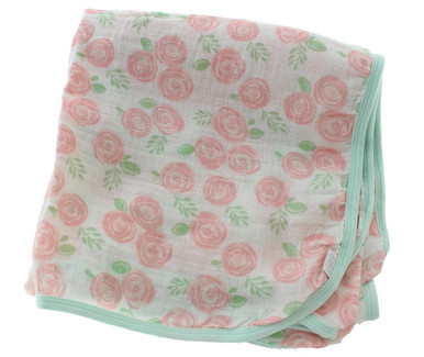 Girls Muslin Swaddle Blanket Rose Print Paty Inc