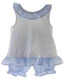 Girls Seersucker Short Set Sleeveless