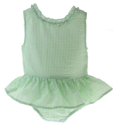 Girls Green Seersucker Swimsuit Monogram Paty