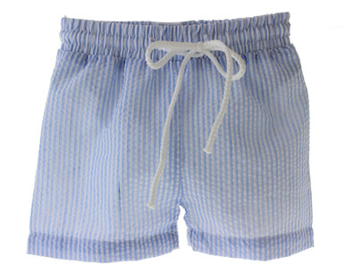 Boys Blue Seersucker Swim Suit Trunks Paty Inc Monogram
