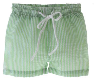 Boys Seersucker Green White Stripe Swim suit Paty