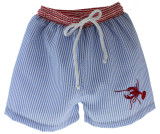 Boys Lobster Swim Trunks Blue Seersucker