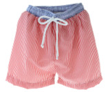 Boys Red Swimsuit Trunks Seersucker