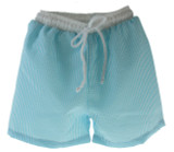 Boys Turquoise Seersucker Swim Trunks