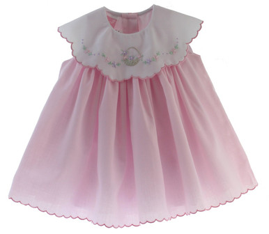 Girls Pink Dress with Flower Embroidered Collar Scallop Trim