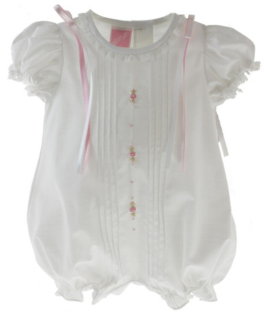 Baby  Girls White Dressy Romper with Pink Ribbons Willbeth