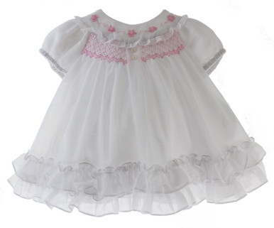Newborn Girls White Heirloom Dress Pink SMocking