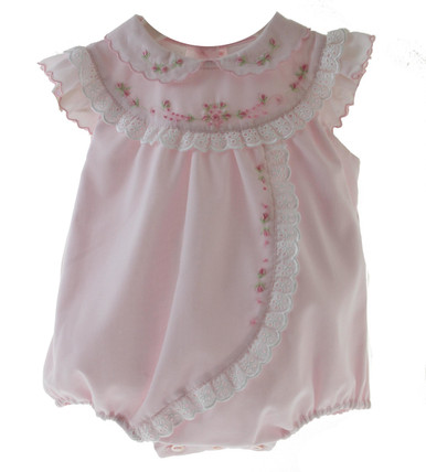 Sarah Louise Pink Newborn Bubble White Eyelet Trim