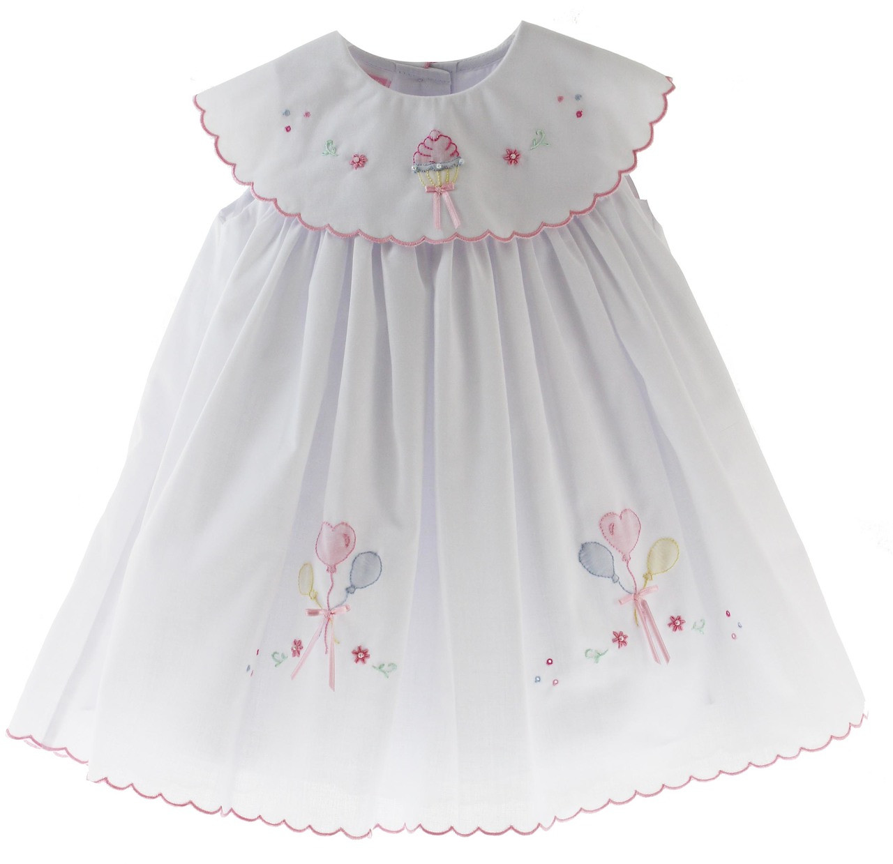 cc52b67e1c Girls White Birthday Dress Embroidered Cake Round Collar. Click to enlarge