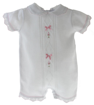 Girls White Knitted Layette Romper with Pink Satin Bows