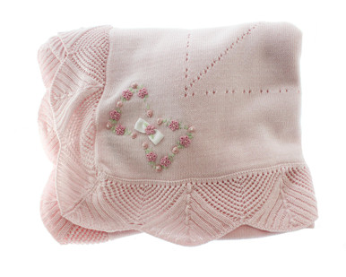 Baby Girls Pink Knitted Blanket Embroidered Flowers
