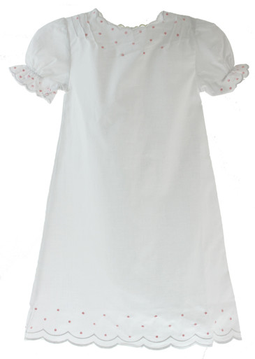 Baby Girls White Vintage Daygown with Pink Embroidered French Knots