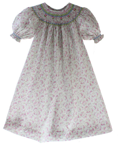 Girls Smocked Dress Floral Printed Fabric