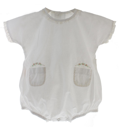 Baby Girls White Vintage Bubble with Embroidered Flowers