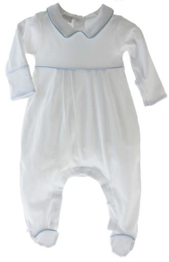 Baby Boys Cotton Footed Sleeper Blue Trim Lia Lucas