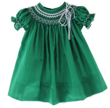 Girls Green Smocked Christmas Bishop Dress