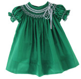 Girls Green Smocked Christmas Bishop Dress
