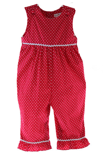 Girls Red & White Christmas Long Romper Outfit