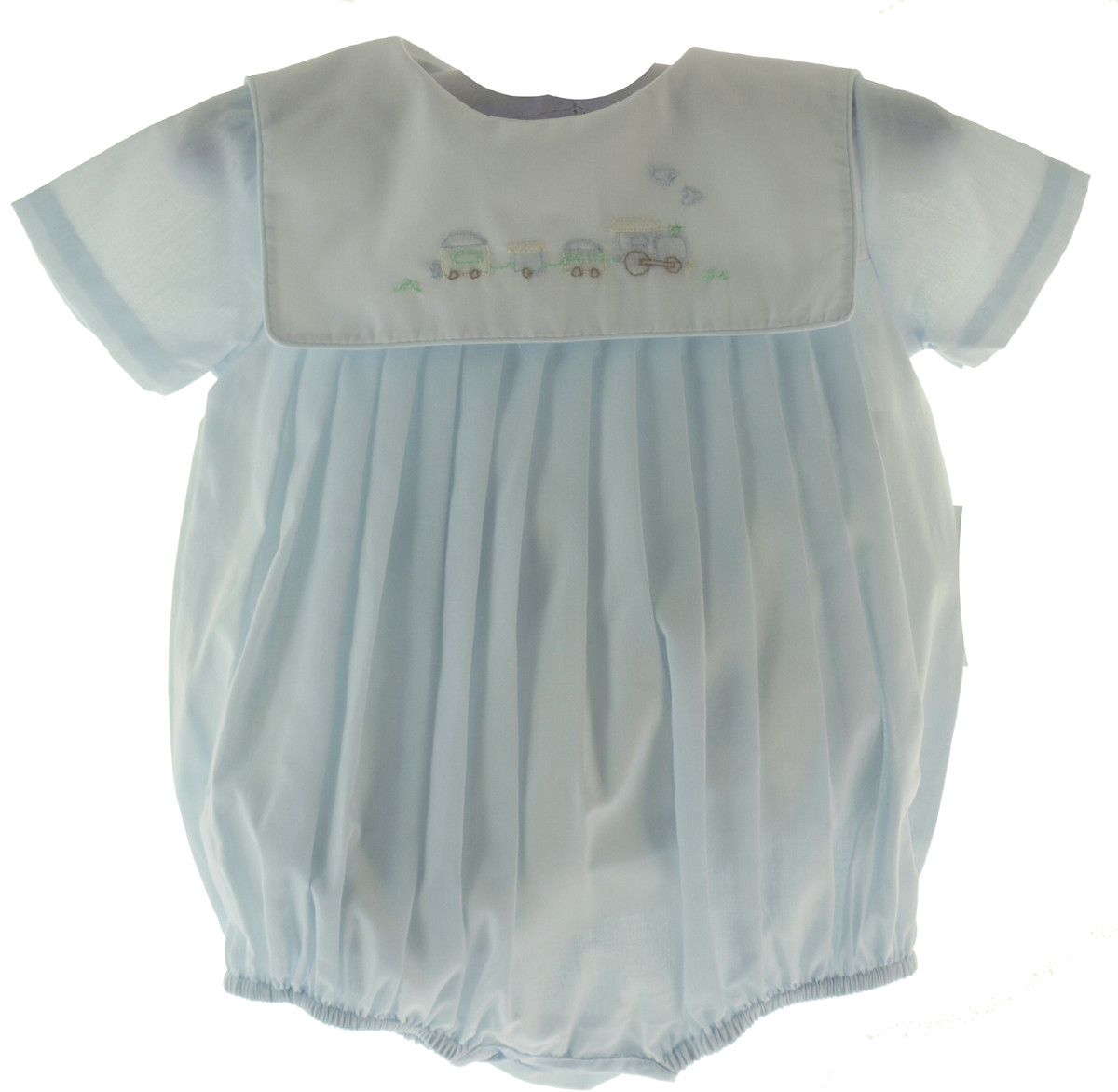 ab2000fec8bee ... Baby Boys Blue Train Bubble Outfit | Petit Ami Train Rompers. Loading  zoom