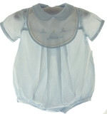 Baby Boys Blue Sailboat Bubble Outfit - Petit Ami