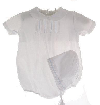 Baby Boys White Bubble Outfit with Hat
