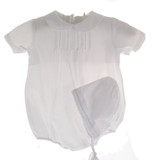 7f0be29b7913 Baby Boys White Christening Bubble Romper Outfit with Hat - Hiccups ...