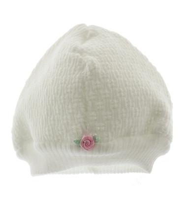 Newborn Girls White Take Home Hat with Pink Rose