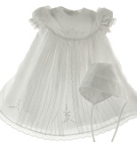 Girls White Christening Gown with Pearls & Bonnet Willbeth