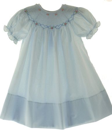 Girls Blue Smocked Bishop Dress with Pink Rosettes Rosalina