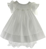 Baby Girls White Smocked Angel Bishop Dress - Bow Peep