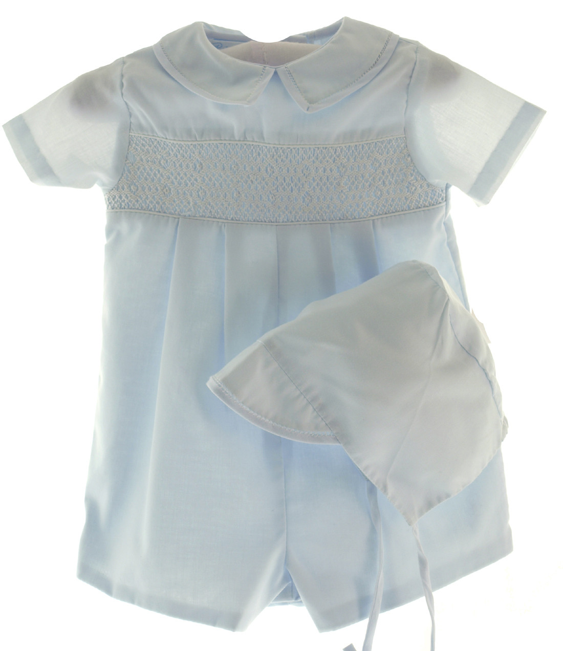 17b92170ca78c Loading zoom. Boys Smocked Blue Romper Outfit - Petit Ami. Click to enlarge