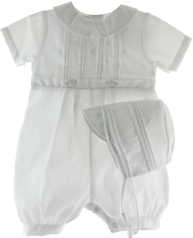 Boys White Christening Knicker - Petit Ami 2704