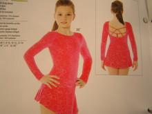 Mondor Model 2748 Skating Dress  Back strap detail, flat skirt, shelf bra, hair tie included